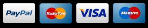Métodos de pago disponibles Paypal Mastercard Visa y Maestro